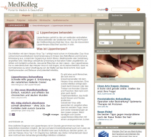 Healthcare Advertorial Lippenherpes