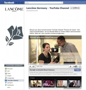 Facebook Page von Lancome Germany - Einbindung Youtube Channel