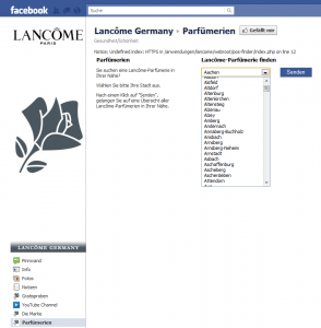 Facebook Page von Lancome Germany - Shopsuche