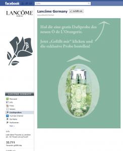 Facebook Page von Lancome Germany - Startseite mit Incentive
