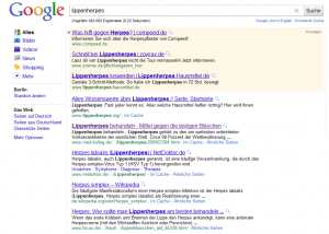 Google Ranking Advertorial zu Lippenherpes