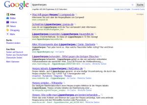 Google Ranking Advertorial zu Lippenherpes